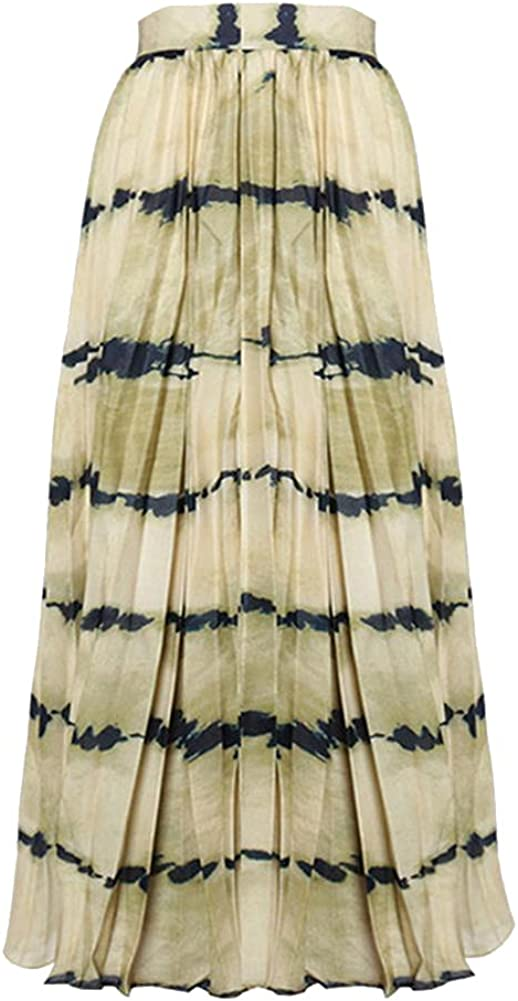 Print Hit Color Pleated Skirts for Female High Waist Casual Striped Midi Women's Skirt Clothing Tide