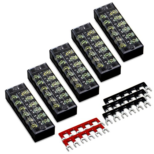 10pcs (5 Sets) 6 Positions Dual Row 600V 25A Screw Terminal Strip Blocks with Cover + 400V 25A 6 Positions Pre-Insulated Terminals Barrier Strip (Black & Red) by MILAPEAK