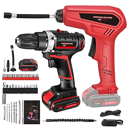 12V Cordless Drill Kit with 30Pcs Accessories, 0-1500rpm Portable Drill Electric Driver with 3 Nozzles, 2ah Battery,Tire Inflator Pump,2 Variable Speed,Charger