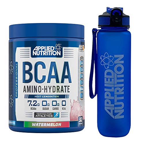 Applied Nutrition Bundle: BCAA Amino Hydrate Powder 450g + Lifestyle Water Bottle 1000ml   Branched Chain Amino Acids Supplement with Electrolytes, B Vits, Intra Workout & Recovery (Watermelon)