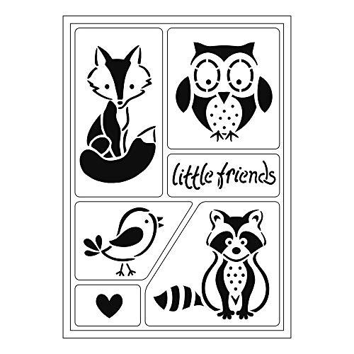 Flexible Schablone, 21 x 14,8 cm, kleine Freunde, 1 Stück