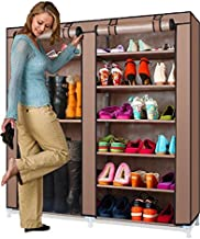 Gadgets Appliances Comfort Designer & Fancy-6 Tier Dual Layer Shoe Rack and Boot Rack DIY Organiser with Non Woven Dust Proof Cover Easy Installation Stand for Shoes Capacity 36 Pair (Brown)