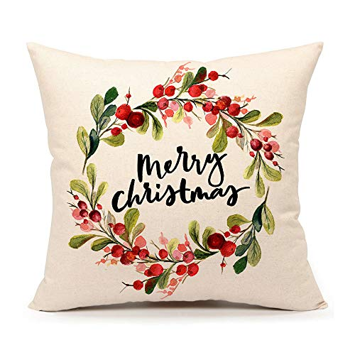 4TH Emotion Merry Christmas Wreath Throw Pillow Cover 18x18 Inch Home Decor Cushion Case for Sofa Couch Cotton Linen Farmhouse Christmas Decorations