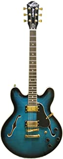 Oscar Schmidt OE30F Double Cut 6 Strings Classic Semi Hollow Body Electric Guitar - Flame Blue Burst