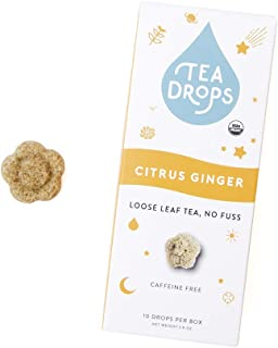 Sweetened Organic Loose Leaf Tea | Instant Citrus Ginger Tea | 10 Handcrafted Best Selling Herbal Tea Drops | Great Gift For Tea Lovers | Delicious Hot or Iced | By Tea Drops