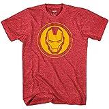 Marvel Avengers Iron Man Mask Logo Endgame Mens T-Shirt (Yellow Mask, Large)
