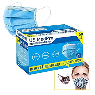 51 Pack (Includes Free Reusable Mask) Disposable Face Mask Surgical Dental Office Industrial 3-Ply Layer Filter System with Earloops Outdoor Facial Protection Fast USA from Us Medical