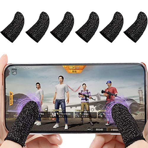 Thumb Sleeves for Mobile Gaming, Gaming Controller for PUBG Mobile (6 Pack), Fortnite, COD, Roblox, and Minecraft. Compatible with iPhone, iOS, Android & iPad. Mobile Finger Sleeves.