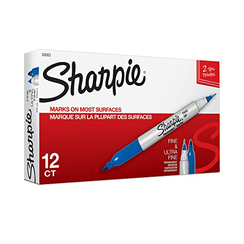 Sharpie 32003 Twin Tip Fine Point and Ultra Fine Point Permanent Marker, Blue, 12-Pack