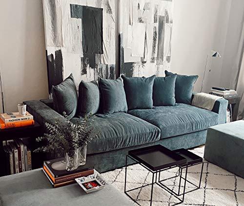 AMARIS Elements | Divano 'Monroe' in velluto a 4 posti con 6 cuscini grigio blu lunghezza 2,65 m
