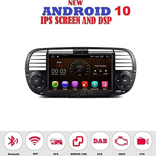 ANDROID 10.0 autoradio navigatore per Fiat 500 Fiat Abarth 500 2007-2015 GPS USB WI-FI Bluetooth Mirrorlink color Nero
