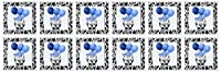 Doreen Erhardt Baby Designs–Western Cow Print withブルーバルーン–グリーティングカード Set of 12 Greeting Cards