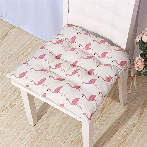 Coussin de jardin en plein air, 1PCS 45cm Place Fauteuil Coussin de siège avec élastique souple haute coton et cravate de sécurité pour salle à manger Terrasse extérieure ( Color : Flamingo white )