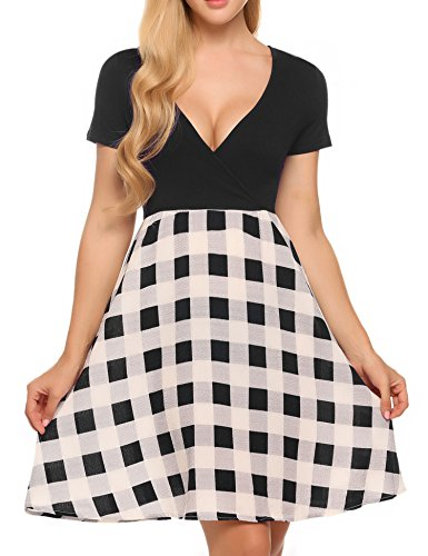 Beyove Damen Polka Dots Wickelkleider V- Ausschnitt Jersey Kleid Wickeloptik Partykleider (EU 40(Herstellergröße: L), Schwarz-5)