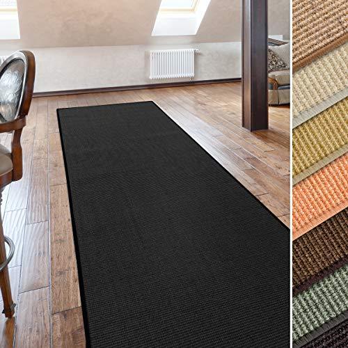 casa pura Sisal Teppich Läufer | schwarz | Naturfaser | Qualitätsprodukt aus Deutschland | kombinierbar mit Stufenmatten | 19 Breiten und 18 Längen (66x100 cm)