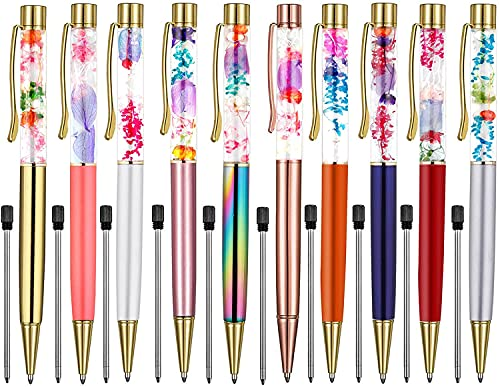 Weimay 10 PCS Ballpoint Pens Metal Ball Pen Refillable Refills Black Ink Fancy Pens Herbarium Floral Ballpoint Pen for Desk Accessories