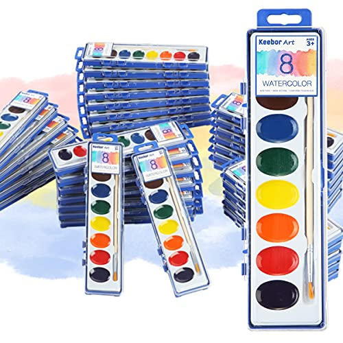 Keebor Basic 8-Colors Watercolor Paint Set, Washable, 36 Pack with Wood Brushes for Kids, School, Party