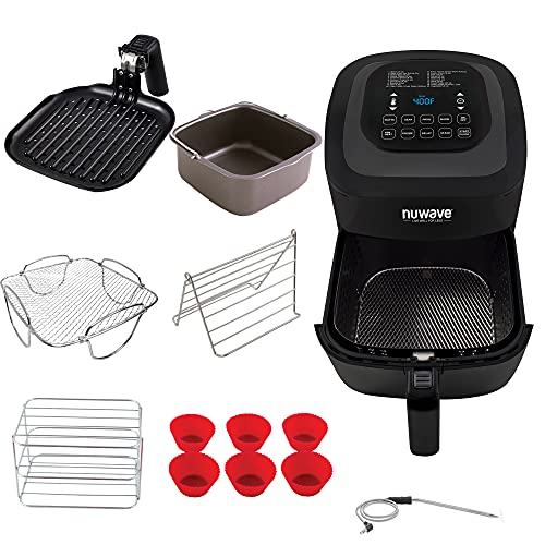 NuWave Brio 6-Quart Healthy Digital Air Fryer with Probe One-Touch Digital Controls, Advanced Cooking Functions, Removable Divider Insert & Grill Pan (NEW ACCESSORY)