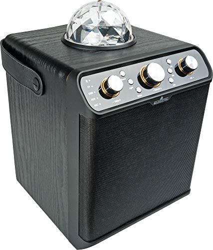 SCHWAIGER -661675- Bluetooth Lautsprecher Party Speaker Disco-Licht Discolkugel Karaoke Stereo 30W Holzgehäuse FM Radio AUX USB Micro-SD Speicherkarte tragbar Lederband