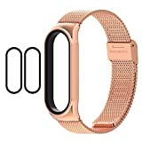 1 Mi Band 5 Strap Metal + 2 Mi Band 5 Screen Protector, 16mm Replacement Band Strap for Xiaomi Mi Band 5 Global Version Smart Bracelet (Rose Gold)