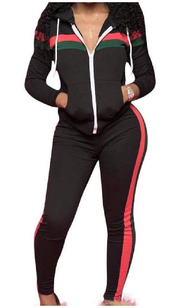 悪性陪審弁護女性のフードカジュアルステッチトレーニングセクシートップスジャケットとスウェットパンツセット