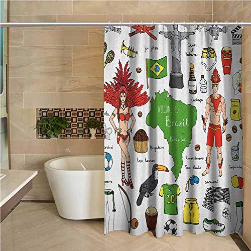 Black Shower Curtain Modern Brazilian Symbols Rio Carnival Samba Dancer Flag Christ The Redeemer Statue Print Multicolor W72 xL72