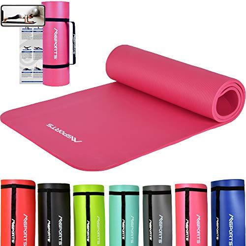 MSPORTS Gymnastikmatte Studio 183 x 61 x 1,0 oder 1,5 cm | inkl. Übungsposter und Tragegurte | Hautfreundliche - Phthalatfreie Fitnessmatte - sehr...
