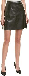 Womens Back Zip Pleather Skirt Rich Black 6