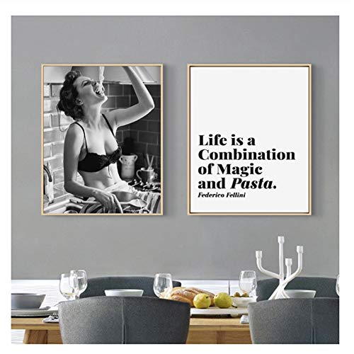5STARS N&R Spaghetti Woman Print Pasta Moment Poster Carbs Love Girl Wall Art Canvas Painting Foodie Woman Photography Kitchen Art Decor-50x70cmx2 No Frame