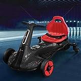 Coche eléctrico Drift Go Cart para niños Coche 2 plazas 2WD 12 V con USB MP3 (negro)
