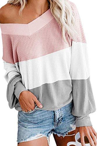Viottiset Damen Pulli Oversized Schulterfrei V-Ausschnitt Locker Sweatshirt M Rosa