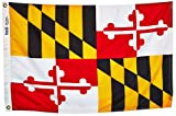 Annin Flagmakers Model 142350 Maryland Flag Nylon SolarGuard NYL-Glo, 2x3 ft, 100% Made in USA to Official State Design Specifications