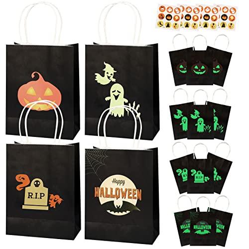 12X Halloween Papier Partytüten mit Aufklebern, Leuchtende Papiertüten mit Henkel Halloween Papiertaschen Geschenk Taschen für Party Süßigkeiten Taschen Halloween Dekorationen