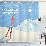 N \ A Spruch-Duschvorhang, Retro-Poster Design Ski & I Love Winter Slogan Outdoor Aktivitäten Themen-Druck, Stoff Badezimmer Dekor Set mit Haken, 182,9 cm lang, Blau Weiß
