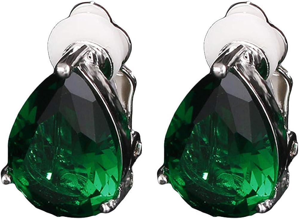 Fashion Women's Earrings,Water Drop Cubic Zirconia Clip On Earrings Party Jewelry Gift - Blue + Rose Gold