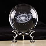 KRISMYA 3D Galaxy Crystal Ball,3.15 Inch/80MM Decorative Glass Ball with Stand,K9 Crystal Sphere Meditation Healing Feng Shui Crystal Ball for Gift Birthday Home Office Decor