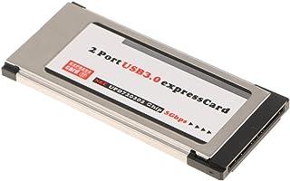 MonkeyJack 2-Port Flush Mount ExpressCard 34mm SuperSpeed USB 3.0 Card Adapter for Notebook Laptop PC