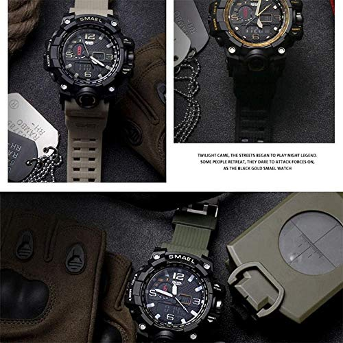 Men's Multi-Function Watch, Waterproof Chronograph, Calendar Dual Display Sports LED Electronic Watch-G