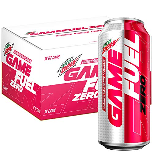 Mountain Dew Game Fuel Zero, Charged Raspberry Lemonade, 16 Fl Oz. Cans (12 Pack)