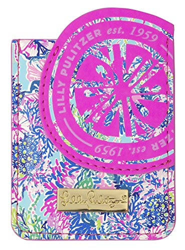 Lilly Pulitzer Leatherette Adhesive Tech Pocket Card Holder for Smartphone Back, Beach You to It