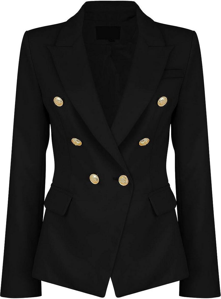 Indefinitely Womens Double Breasted Military famous Style Ladies Coat Blazer Jacket