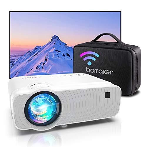 Proyector WiFi, Proyector Portátil, 6000 Lúmenes, Soporta 1080p Full HD, Cine en Casa 300' Duplicar Pantalla para Android/iPhone Smartphone iPad,HDMI/USB/VGA/AV/SD GC357