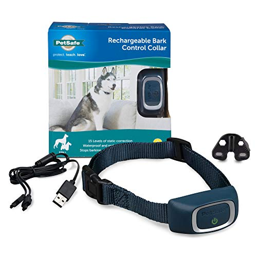 PetSafe Rechargeable Bark Collar, 15 Levels of Automatically Adjusting Static Correction - Rechargeable, Waterproof - Reduces Barking and Whining - for Small, Medium, and Large Dogs over 8 lb