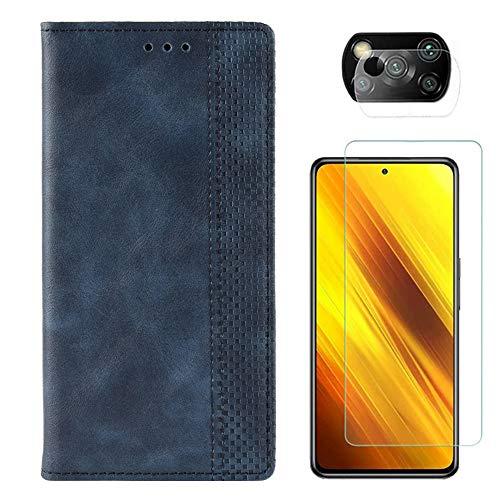Funda para Xiaomi Poco X3 NFC + Protector de Pantalla Cristal Templado + Protector de Cámara Lente, Carcasa Libro con Tapa Flip Case Antigolpes PU Cuero Color Azul