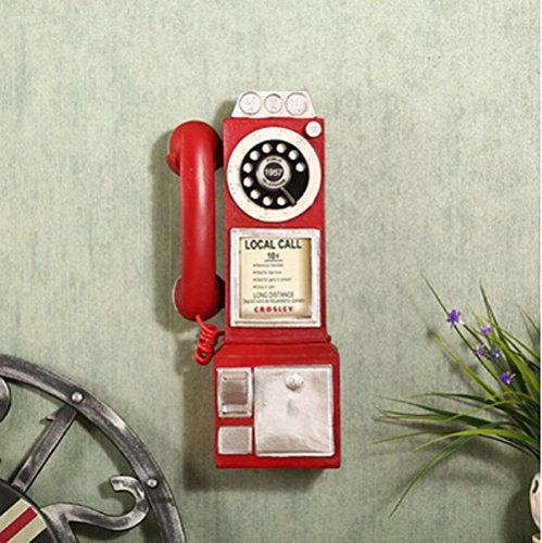 Sulin Bar Retro Vintage Wall Telephone Home Decoration 3 Colores 13 * 8 * 30Cm 1Pcs,Red