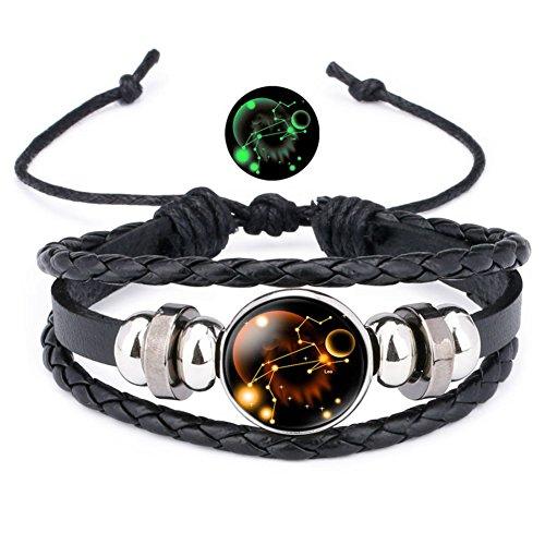 12 Sternzeichen Armband Lederarmband Frauen Herren Nachtleuchtender Anhänger Glas Cabochon Silber Armbänder Kette Verstellbare (Löwe)