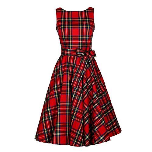 1950 Jurken voor Vrouwen, Rode Tartan Retro Stijl jaren '50 Mode Gedrukt Plaid Rode A-lijn Schotse Jurk voor Vrouwen