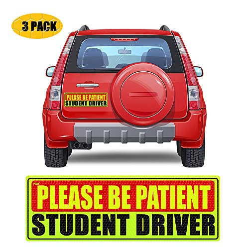 PSLER Student Driver Magnet for Car,be patient student driver magnet Safety Warning Red and Yellow Reflective Signs Reusable Movable Boys and Girls New Student Driver Sticker 10.8×3.7inch 3 Pcs Gifts