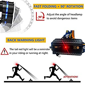 Aukelly LED Linternas Frontals USB Recargable Alta Potencia USB Linterna Frontale Frontal Luz Cabeza,Lámpara de Cabeza 8 Modos,Frontale 1000 Lumen,para Camping,con 18650 Baterías