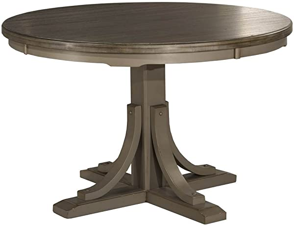 Hillsdale Furniture 4541DTB Hillsdale Clarion Distressed Gray Round Dining Table Multi Step Wirebrush